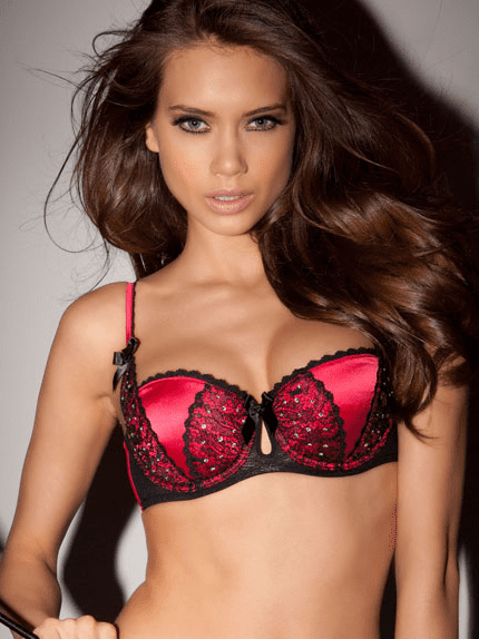 Queenie Red/Black Balconette Bra